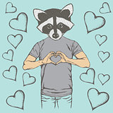 Raccoon Valentine day vector concept