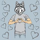 Dog Valentine day vector concept