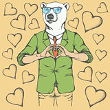 Polar bear Valentine day vector concept