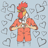 Rooster Valentine day vector concept