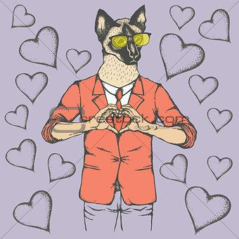 Cat Valentine day vector concept