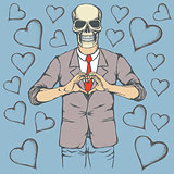 Skull Valentine day vector concept