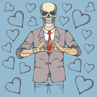 Skull Valentine day vector concept