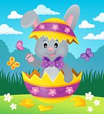 Easter bunny in eggshell theme image 2