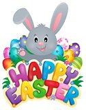 Happy Easter sign with bunny and eggs