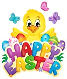 Happy Easter sign with chicken and eggs