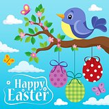 Happy Easter theme with bird and eggs 1