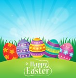 Happy Easter theme with decorated eggs