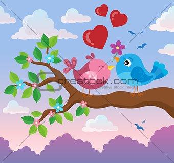 Valentine birds on branch theme 2