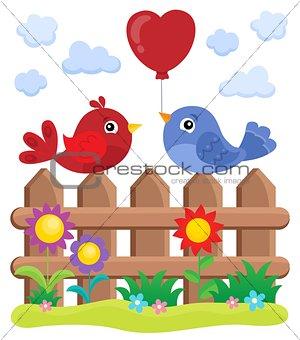 Valentine birds on fence theme 2