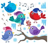 Winter birds theme set 1