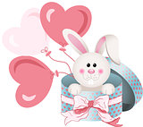 Bunny in round gift box with bow ribbon and balloons