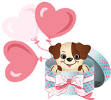 Cute dog in round gift box with bow ribbon and balloons