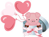 Cute pig in round gift box with bow ribbon and balloons