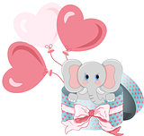 Elephant in round gift box with bow ribbon and balloons