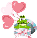 Frog in round gift box with bow ribbon and balloons