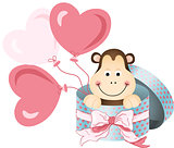 Monkey in round gift box with bow ribbon and balloons