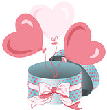 Round gift box with bow ribbon and heart balloons