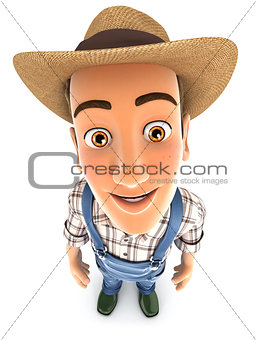 3d farmer standing and looking up at camera