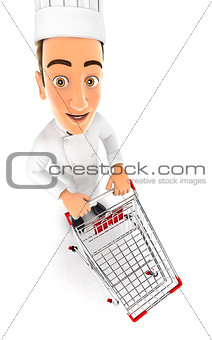 3d head chef empty supermarket trolley