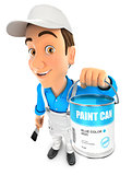 3d painter holding paint can