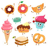 Set of cute, funny smiley dessert characters