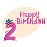 Happy birthday vector greeting card design with two number characters