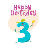 Happy birthday vector greeting card design with threenumber characters