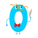 Cute and funny colorful 0 number characters, birthday greetings