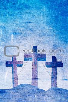 Three Christian Crosses on Calvary Background Illustration