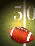 American Football Sitting on Turf Field Illustration