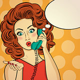 Surprised pop art woman chatting on retro phone . Comic woman wi