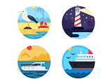 Sea travel set icons