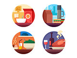 Set of food icons to dinner