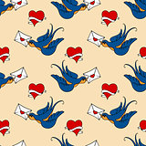seamless pattern with swallows, old school tattoo