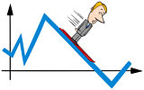 businessman ski on graph cartoon