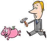 businessman chase piggy bank