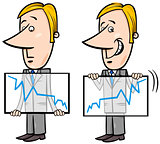 businessman and graph cartoon