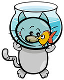 cat and fish cartoon