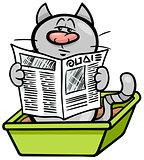 cat in litter box cartoon