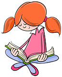 girl reading book cartoon