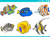 sea life fish characters set