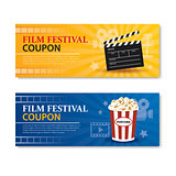 Film festival banner and coupon.Cinema movie card element design