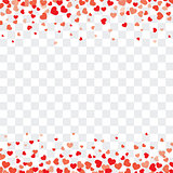 Valentine background with hearts on transparent and space for te