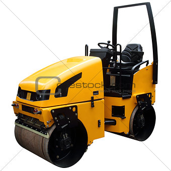 Modern yellow road-roller