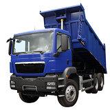The dark blue lorry