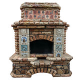 The big decorative fireplace.