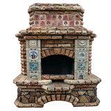 The big decorative fireplace.