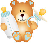 Baby boy teddy bear with baby pacifier and bottle milk