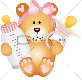 Baby girl teddy bear with baby pacifier and bottle milk
